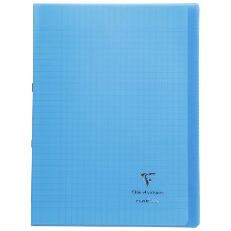 Cahier avec pochette Koverbook 21x29,7 96p grands carreaux (séyès) bleu