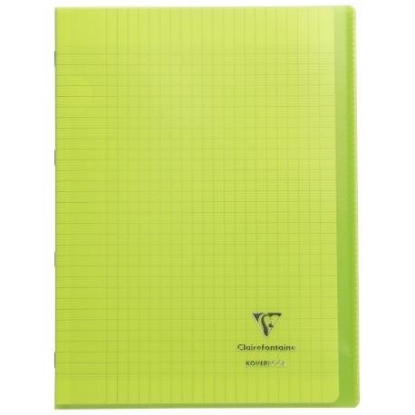 Cahier avec pochette Koverbook 21x29,7 96p grands carreaux (séyès) vert