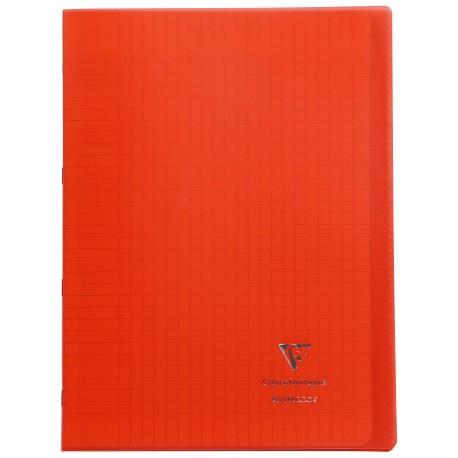 Cahier avec pochette Koverbook 21x29,7 96p grands carreaux (séyès) rouge
