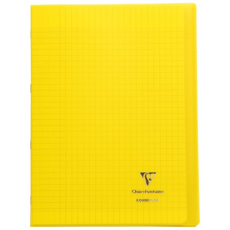 Cahier avec pochette Koverbook 21x29,7 96p grands carreaux (séyès) jaune