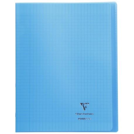 Cahier avec pochette Koverbook 24x32 96p grands carreaux (séyès) bleu