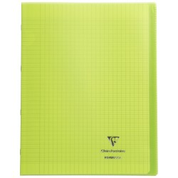 Cahier avec pochette Koverbook 24x32 96p grands carreaux (séyès) vert