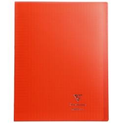 Cahier avec pochette Koverbook 24x32 96p grands carreaux (séyès) rouge