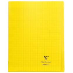 Cahier avec pochette Koverbook 24x32 96p grands carreaux (séyès) jaune