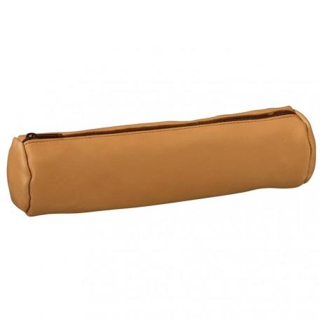 Trousse ronde en cuir beige avec zip