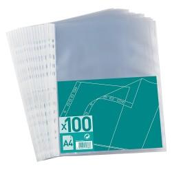 Pochettes perforees cristal format A4 (21x29,7) 5/100 - lot de 100
