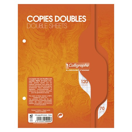 Copies doubles perforées 120p 21x29,7 grands carreaux séyès - blanc