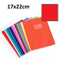 Protège-cahier petit format 17x22 avec porte étiquette - rouge
