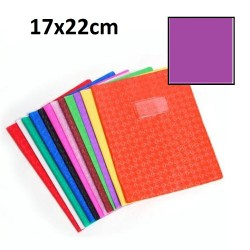 Protège-cahier petit format 17x22 avec porte étiquette - violet