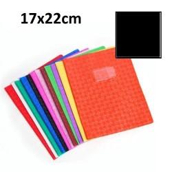Protège-cahier petit format 17x22 avec porte étiquette - noir