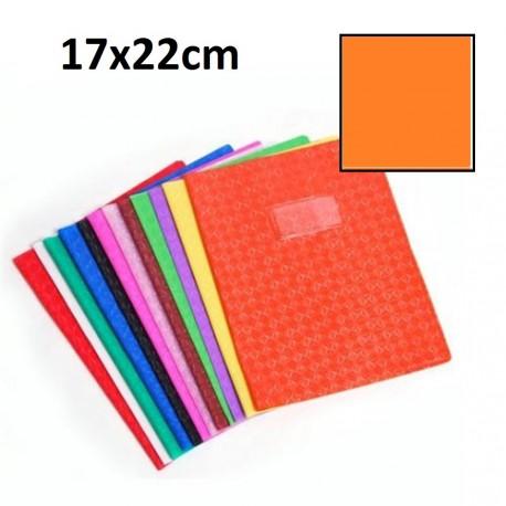 Protège-cahier petit format 17x22 avec porte étiquette - orange