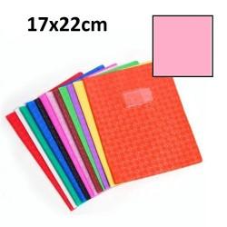 Protège-cahier petit format 17x22 avec porte étiquette - rose