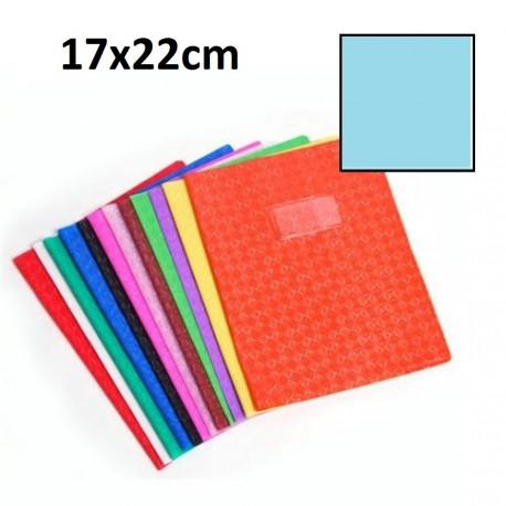 Protège-cahier petit format 17x22 avec porte étiquette - bleu claire