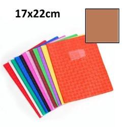 Protège-cahier petit format 17x22 avec porte étiquette - brun