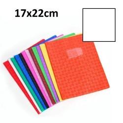 Protège-cahier petit format 17x22 avec porte étiquette - blanc