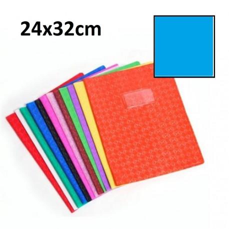 Protège-cahier grand format 24x32 avec porte étiquette - bleu