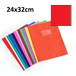 Protège-cahier grand format 24x32 avec porte étiquette - rouge