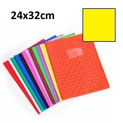 Protège-cahier grand format 24x32 avec porte étiquette - jaune
