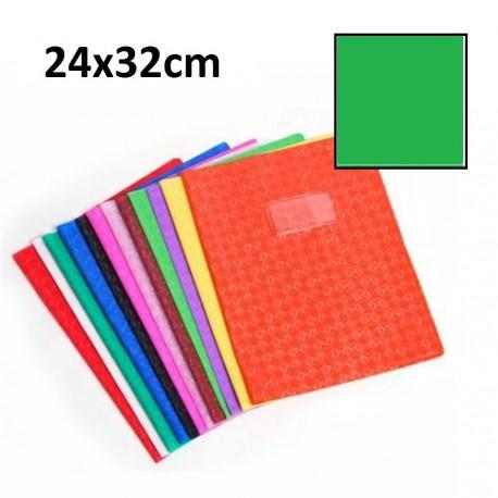 Protège-cahier grand format 24x32 avec porte étiquette - vert