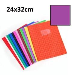 Protège-cahier grand format 24x32 avec porte étiquette - violet