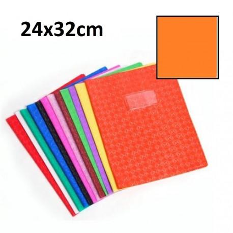 Protège-cahier grand format 24x32 avec porte étiquette - orange