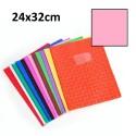Protège-cahier grand format 24x32 avec porte étiquette - rose