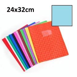 Protège-cahier grand format 24x32 avec porte étiquette - bleu clair