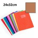 Protège-cahier grand format 24x32 avec porte étiquette - brun