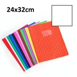 Protège-cahier grand format 24x32 avec porte étiquette - blanc