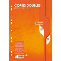 Copies doubles perforées 120p 21x29,7 petits carreaux 5x5 - blanc