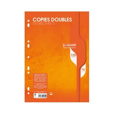 Copies doubles perforées 120p 21x29,7 grands carreaux séyès - blanc