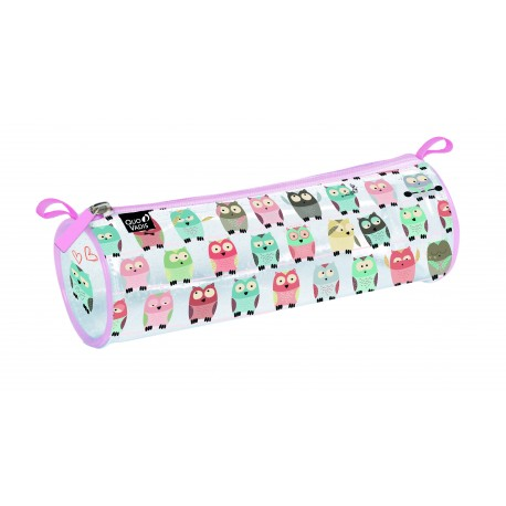 Trousse ronde transparent animascot hibou