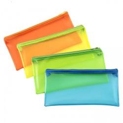 Trousse fourre-tout en plastique format 22x11cm - coloris assortis