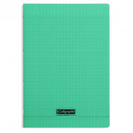 Cahier polypro Calligraphe format A4 21x29,7 48p grands carreaux (séyès) - vert