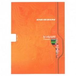 Cahier de dessin couverture carton Calligraphe 24x32 32 pages 120g