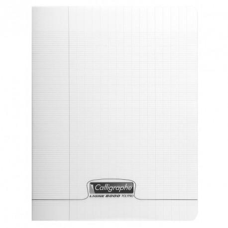 Cahier polypro Calligraphe petit format 17x22 140p grands carreaux (séyès) - incolore