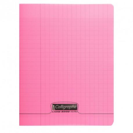 Cahier polypro Calligraphe petit format 17x22 48p grands carreaux (séyès) - rose