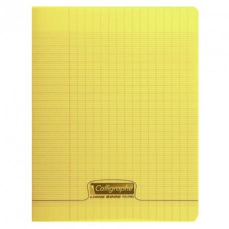 Cahier polypro Calligraphe petit format 17x22 60p grands carreaux (séyès) - jaune