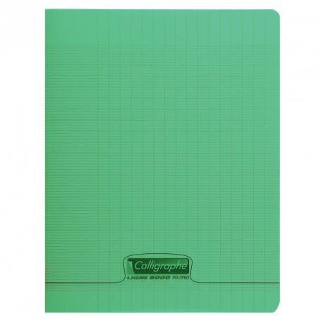 Cahier polypro Calligraphe petit format 17x22 60p grands carreaux (séyès) - vert