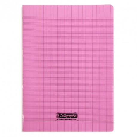 Cahier polypro Calligraphe format A4 21x29,7 96p grands carreaux (séyès) - rose