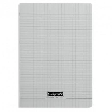 Cahier polypro Calligraphe format A4 21x29,7 96p grands carreaux (séyès) - gris