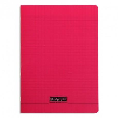 Cahier polypro Calligraphe grand format 24x32 140p grands carreaux (séyès) - rouge