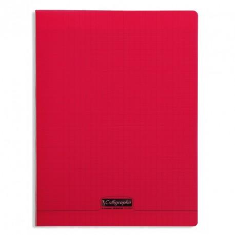 Cahier polypro Calligraphe grand format 24x32 48p grands carreaux (séyès) - rouge