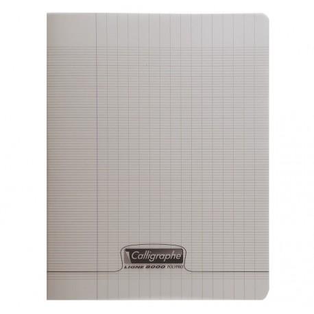 Cahier polypro Calligraphe grand format 24x32 48p grands carreaux (séyès) - gris