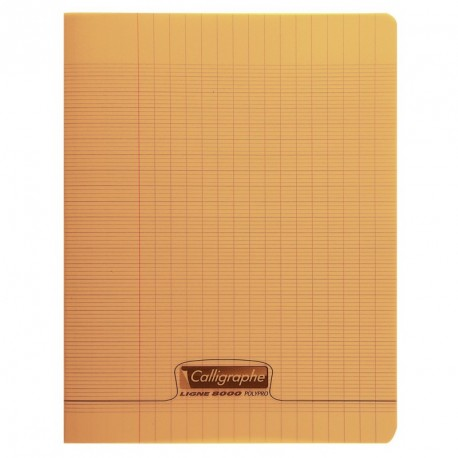 Cahier polypro Calligraphe grand format 24x32 48p grands carreaux (séyès) - orange