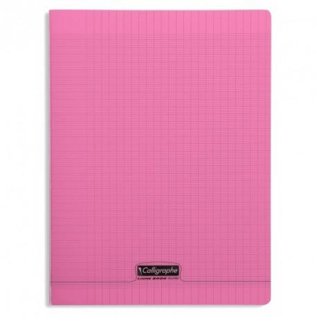 Cahier polypro Calligraphe grand format 24x32 96p grands carreaux (séyès) - rose