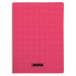 Cahier polypro Calligraphe format A4 21x29,7 96p petits carreaux (5x5) - rouge