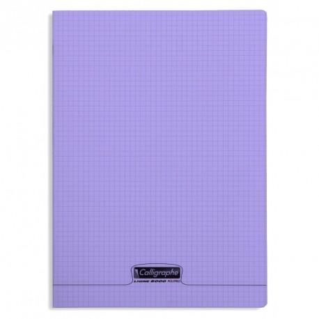 Cahier polypro Calligraphe format A4 21x29,7 96p petits carreaux (5x5) - violet
