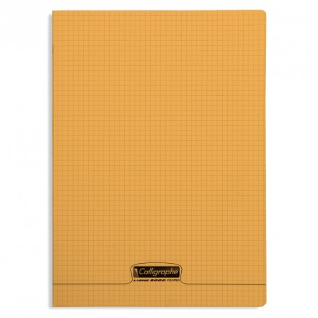 Cahier polypro Calligraphe format A4 21x29,7 96p petits carreaux (5x5) - orange