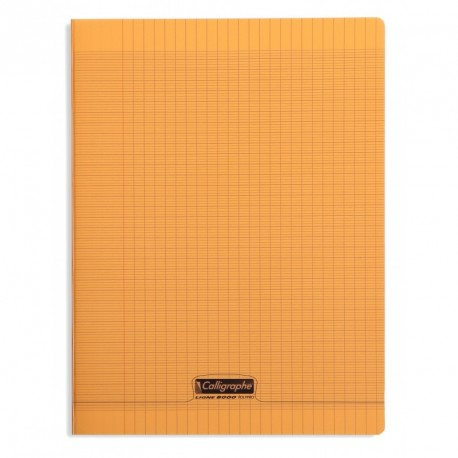 Cahier polypro Calligraphe grand format 24x32 96p grands carreaux (séyès) - orange